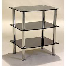 Glass Side Table by Rectangle Black Glass Side Table With Two Row Glass Shelf And