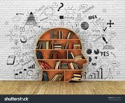 wood bookshelf shape human head books stock illustration 308123306