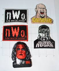 wrestling fabric etsy nwo iron wrestling clothing patches licensed vintage red silver bill goldberg
