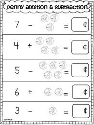 penny addition u0026 subtraction practice sheets by tara west tpt
