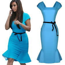 women royal blue yellow peplum summer style bodycon pencil belted