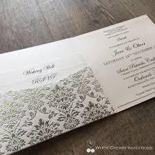Silver Wedding Invitations Wedding Invitations White Cherry Invitations Princess Silver Foil