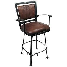 set of 2 lariat wrought iron bar stools leather padded swivel seat
