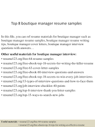 Boutique Resume Sample by Top8boutiquemanagerresumesamples 150521071144 Lva1 App6892 Thumbnail 4 Jpg Cb U003d1432192346