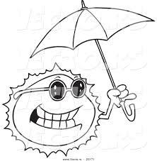 vector cartoon sun holding umbrella coloring