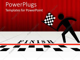 Finish Line Flag Powerpoint Template Black Figure With Checked Flag At Black And
