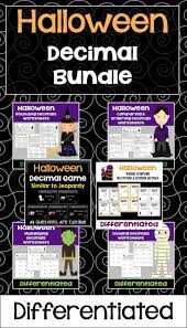 halloween decimal bundle worksheets task cards and game
