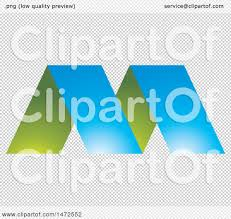 clipart of a green and blue letter m design royalty free vector