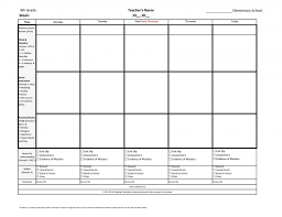 4th fourth grade lesson plan template one week page glance for