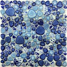 Blue Glass Tile Bathroom - glazed porcelain tile glass pebble mosaic ppmt043 pebble flooring
