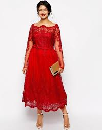 red lace plus size evening dresses square neck long sleeve tea