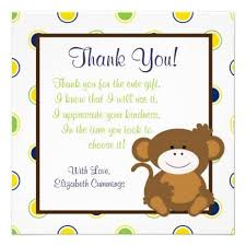 thank you notes for baby shower note host what to write in thank you cards for baby shower monkey