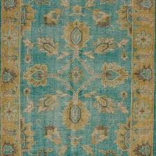 Turquoise Area Rug Ivana Wool And Viscose Turquoise And Beige Area Rug