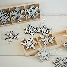 9 x silver vintage wooden snowflake tree hanging