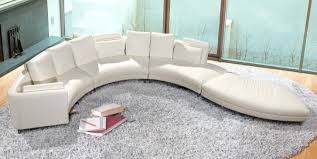 Curve Sofas Curvy Sofa In White Cotton Material Combined With Leather Create
