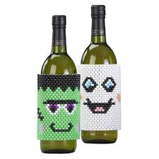 wine bottle wraps herrschners trick or treat wine bottle wraps beading