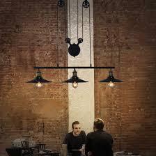 vintage industrial adjustable pulley hanging light loft cluster