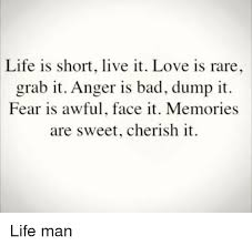 Life Is Short Meme - life is short live it love is rare grab it anger is bad dump it fear