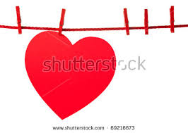four red valentine hearts hanging red stock photo 361545845