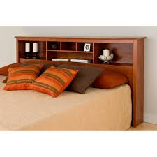 brown wooden floating headboard with brown bedding bed plus white