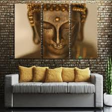 3 panel hd printed framed golden buddha statue modern home wall