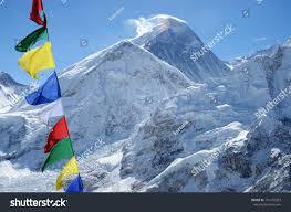 Flags Of The Wor Summit Mount Everest Chomolungma Highest Mountain Stock Foto