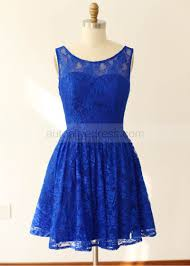royal blue grey mint blue lace u back knee length bridesmaid dress