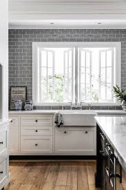glass tile backsplash pictures trendy galley eatin kitchen photo