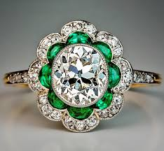 vintage emerald engagement rings 1920s original deco diamond emerald engagement ring antique
