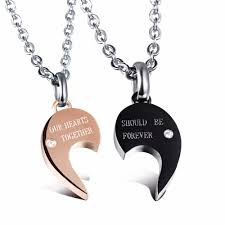 couples heart necklace images His and hers split heart matching couple necklaces for lovers jpg
