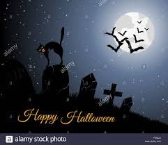 Halloween Flying Bats Happy Halloween Greeting Card Elegant Design With Cemetery Cat