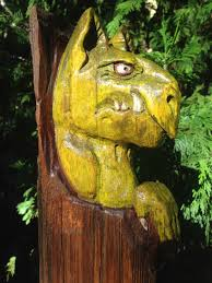cedar wood sculpture carved green gargoyle goblin troll cedar wood carving