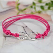 make bracelet from rope images Silver infinity pendant wax rope diy bracelet friendship JPG