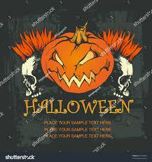 halloween poster pumpkin punk skulls vector stock vector 63130204