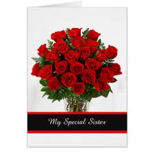 red rose birthday for sister greeting cards zazzle