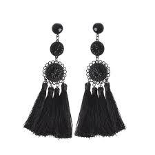 black earings embossed black disc and tassel earrings