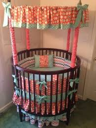 baby round crib bedding coral mint and teal floral with super