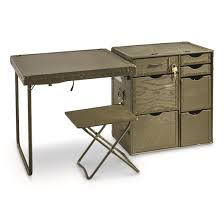 Computer Writing Desk U S Military Surplus Wooden Field Desk 3 Piece Used 676705