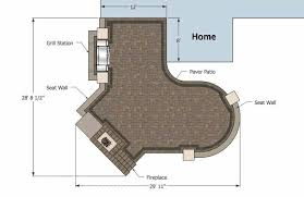 Large Paver Patio Design With Grill Station Bar Plan No by L Shaped Patio Design With Grill Station And Fireplace 430 Sq