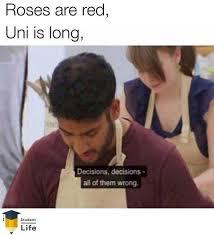 Uni Student Memes - dopl3r com memes roses are red uni is long decisions decisions