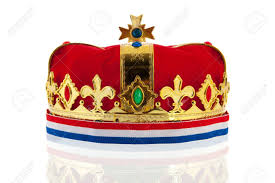 Maroon And White Flag Dutch Golden Crown With Flag Colors For The King Isolated Over
