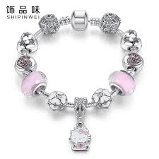 murano charm bracelet images 925 silver kitty cat charm bracelet fit original bracelet bangle jpg