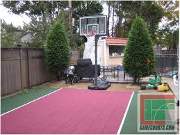 backyards cozy back to post backyard basketball court size 129