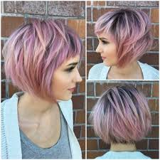 women u0027s messy choppy pink highlighted bob with baby bangs short