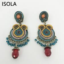 soutache earrings isola vintage resin beaded filled rhinestone soutache earring