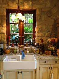 French Style Kitchen Ideas by The Stone Wall Wood Window And Farmhouse Sink With Granite