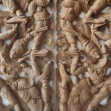 pair of wooden wall panel from thailand siam sawadee