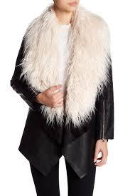 philosophy apparel faux fur trimmed faux leather jacket