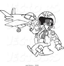 vector of a cartoon fighter pilot near his jet outlined coloring