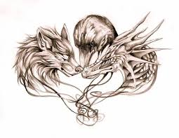 dangerous dragon and wolf with crow tattoo design graphics